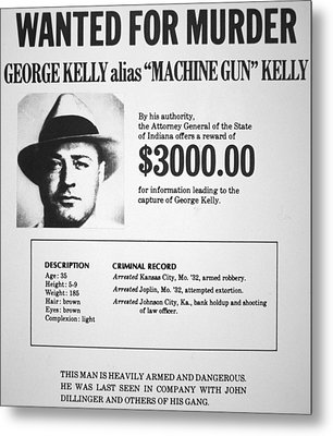 Wanted Poster For Machine Gun Kelly Metal Print by American School