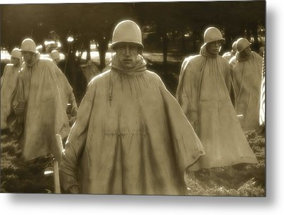 War Soldiers On Patrol Metal Print