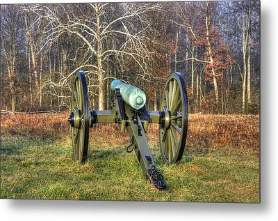 Metal Print featuring the photograph War Thunder - 1st New York Light Artillery-a1 Battery D The Wheatfield Gettysburg by Michael Mazaika