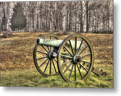 Metal Print featuring the photograph War Thunder - 1st New York Light Artillery-b1 Battery D The Wheatfield Late Winter Gettysburg by Michael Mazaika