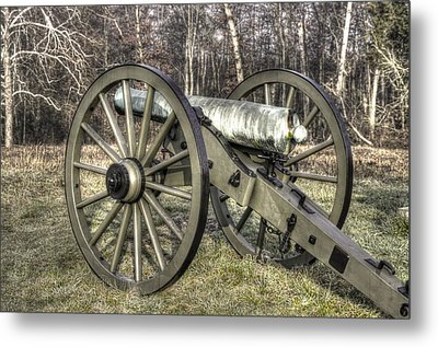 Metal Print featuring the photograph War Thunder - 1st New York Light Artillery-c1 Battery D The Wheatfield Late Winter Gettysburg by Michael Mazaika
