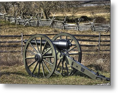 Metal Print featuring the photograph War Thunder - 9th Michigan Btry 1st Michigan Light Artillery Battery I Hancock Ave Gettysburg by Michael Mazaika