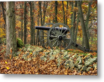 Metal Print featuring the photograph War Thunder - The Albemarle Va Artillery Wyatt's Battery West Confederate Ave Gettysburg by Michael Mazaika