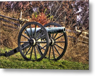 Metal Print featuring the photograph War Thunder - The Morris Artillery Page's Battery Oak Hill Gettysburg by Michael Mazaika