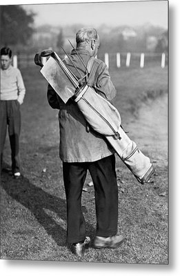 War Time On The Golf Course Metal Print by Underwood Archives