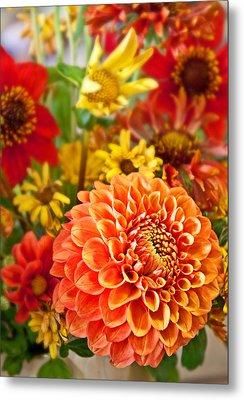 Warm Colored Flower Bouquet With Round Dahlia Metal Print by Valerie Garner