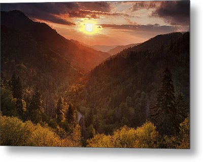 Warm Light In The Smokies Metal Print