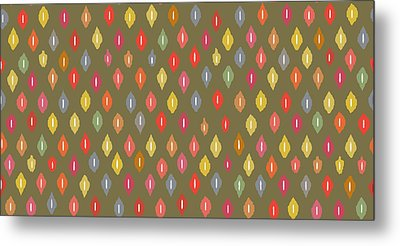 Warm Little Ikat Diamonds Metal Print by Sharon Turner