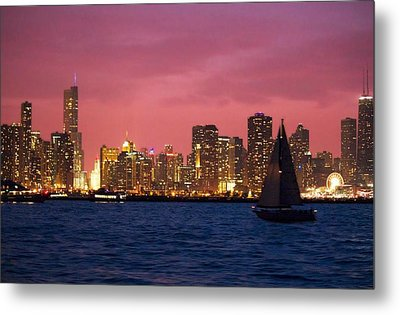 Warm Summer Night Chicago Style Metal Print