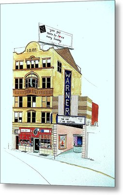Metal Print featuring the painting Warner Theater by William Renzulli