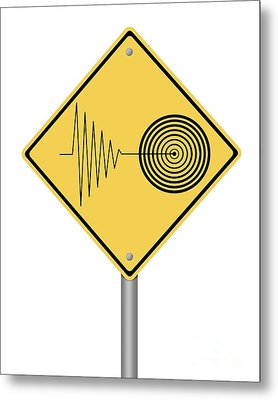 Warning Sign Tremor Metal Print by Henrik Lehnerer