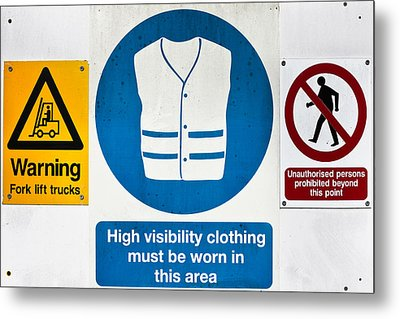 Warning Signs Metal Print