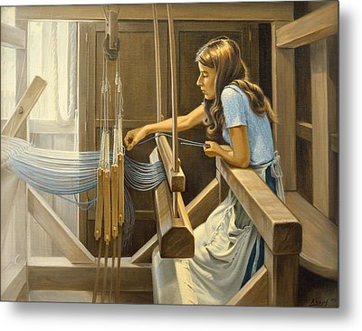 Warping The Loom  Metal Print by Paul Krapf