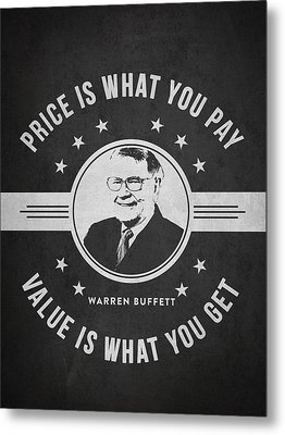 Warren Buffet - Charcoal Metal Print by Aged Pixel