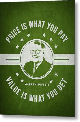 Warren Buffet - Green Metal Print by Aged Pixel
