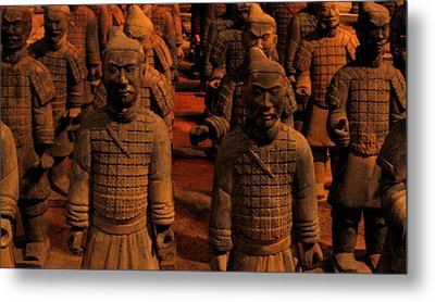 Warriors Terra Cotta Metal Print by Patricia Januszkiewicz