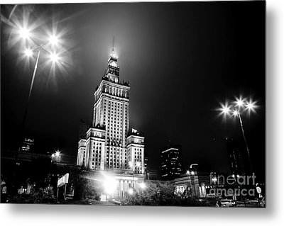 Warsaw Poland Downtown Skyline At Night Metal Print by Michal Bednarek
