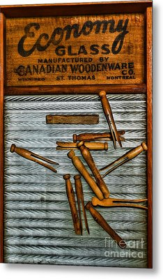 Washboard And Clothes Pins Metal Print by Paul Ward
