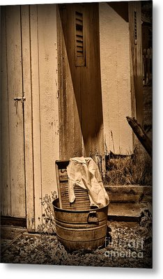 Washboard By The Outhouse Metal Print