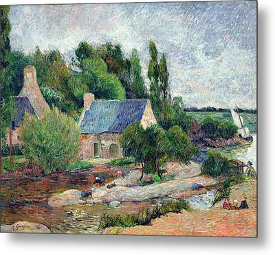 Washerwomen At Pont-aven, 1886 Oil On Canvas Metal Print by Paul Gauguin