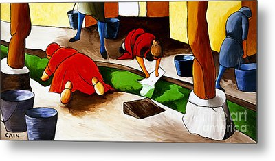 Washing Clothes At Canal Metal Print by William Cain