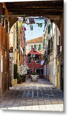 Washing Drying In The Wind In Venice Metal Print