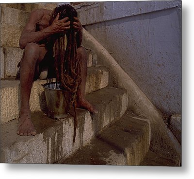Metal Print featuring the photograph Varanasi Hair Wash by Travel Pics