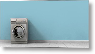 Washing Machine Empty Single Metal Print by Allan Swart