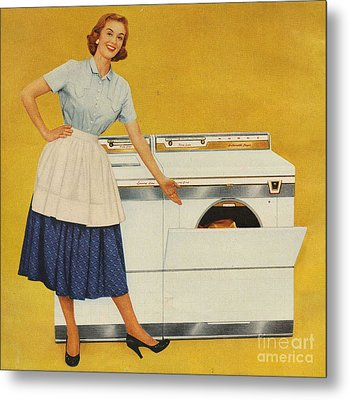 Washing Machines 1950s Usa Housewives Metal Print by The Advertising Archives