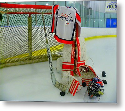 Washington Capitals Hockey Away Goalie Jersey Metal Print