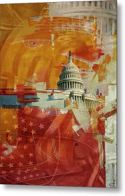 Washington City Collage 4 Metal Print by Corporate Art Task Force