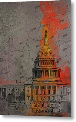 Washington City Collage Metal Print by Corporate Art Task Force