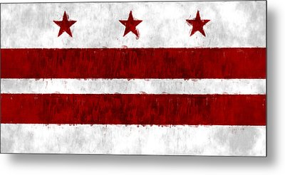 Washington D.c. Flag Metal Print by World Art Prints And Designs