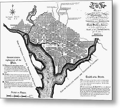 Washington, D.c. Plan, 1792 Metal Print by Granger