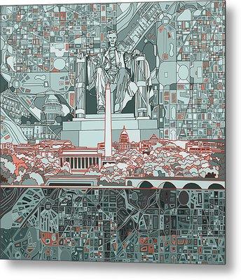 Washington Dc Skyline Abstract Metal Print