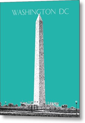 Washington Dc Skyline Washington Monument - Teal Metal Print by DB Artist