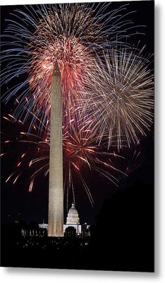 Washington Monument And U.s.capitol Under Fireworks Metal Print by Regina  Williams