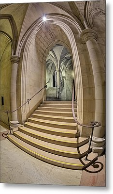 Washington National Cathedral Crypt Level Stairs  Metal Print by Susan Candelario