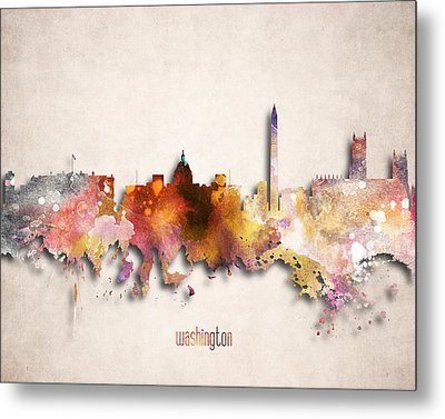 Washington Painted City Skyline Metal Print by World Art Prints And Designs