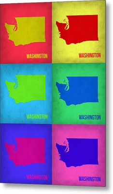 Washington Pop Art Map 1 Metal Print by Naxart Studio