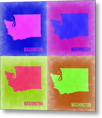 Washington Pop Art Map 2 Metal Print by Naxart Studio