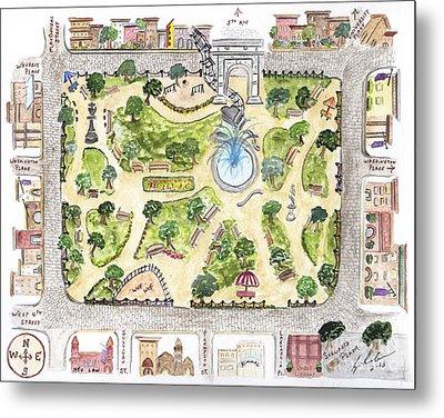 Washington Square Park Map Metal Print