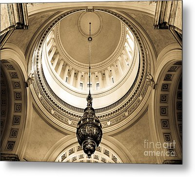 Metal Print featuring the photograph Washington State Capitol Building Rotunda Sepia by Merle Junk