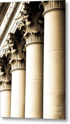 Metal Print featuring the photograph Washington State Capitol Columns In Sepia by Merle Junk
