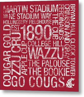 Washington State College Colors Subway Art Metal Print by Replay Photos