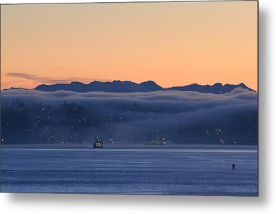 Metal Print featuring the photograph Washington State Ferries At Dawn by E Faithe Lester