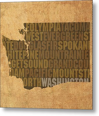 Washington Word Art State Map On Canvas Metal Print by Design Turnpike