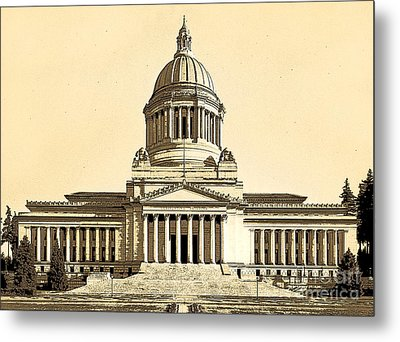 Washingtons State Capitol Building Sketch In Sepia Metal Print by Merle Junk