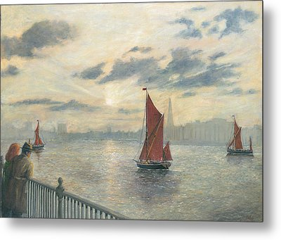 Watching Barges On The Thames River London Metal Print by Eric Bellis