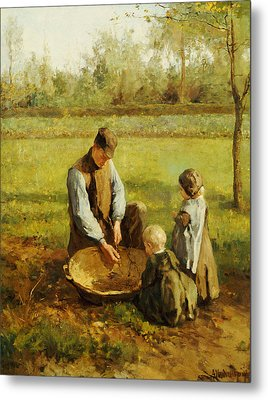 Watching Father Work Metal Print by Albert Neuhuys